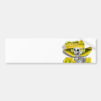 Laughing Skeleton Woman in Yellow Bonnet Bumper Sticker