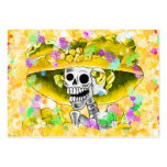 Laughing Skeleton Woman in Yellow Bonnet Large Business Cards (Pack Of 100)