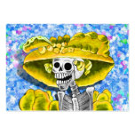 Laughing Skeleton Woman in Yellow Bonnet Business Card