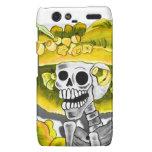 Laughing Skeleton Woman in Yellow Bonnet Droid RAZR Cases