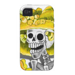 Laughing Skeleton Woman in Yellow Bonnet Vibe iPhone 4 Cases