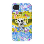 Laughing Skeleton Woman in Yellow Bonnet Vibe iPhone 4 Cover