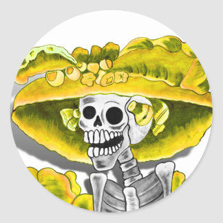 Laughing Skeleton Woman in Yellow Bonnet Classic Round Sticker