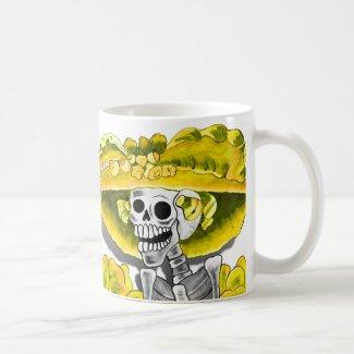Laughing Skeleton Woman in Yellow Bonnet Coffee Mug