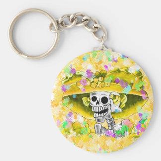 Laughing Skeleton Woman in Yellow Bonnet Key Chain
