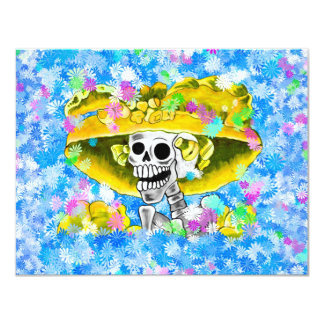 Laughing Skeleton Woman in Yellow Bonnet on Blue Personalized Invites