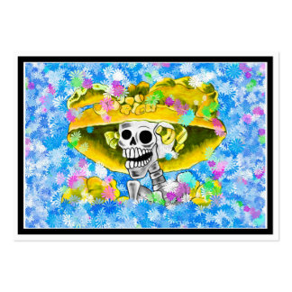 Laughing Skeleton Woman in Yellow Bonnet on Blue Large Business Card
