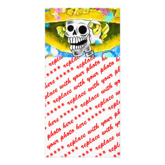 Laughing Skeleton Woman in Yellow Bonnet on Blue Photo Card Template