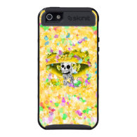 Laughing Skeleton Woman in Yellow Bonnet on Yellow iPhone 5 Cases