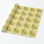 Laughing Skeleton Woman in Yellow Bonnet on Yellow Wrapping Paper