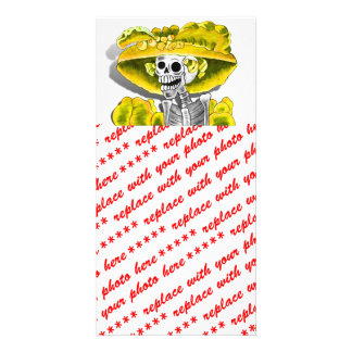 Laughing Skeleton Woman in Yellow Bonnet Personalized Photo Card