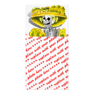 Laughing Skeleton Woman in Yellow Bonnet Customized Photo Card