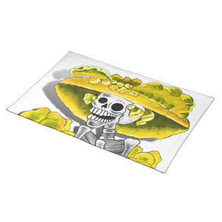 Laughing Skeleton Woman in Yellow Bonnet Cloth Place Mat