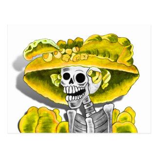 Laughing Skeleton Woman in Yellow Bonnet Postcard