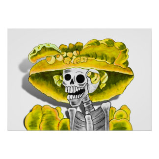 Laughing Skeleton Woman in Yellow Bonnet Poster