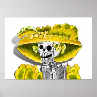 Laughing Skeleton Woman in Yellow Bonnet Poster