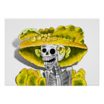 Laughing Skeleton Woman in Yellow Bonnet Posters