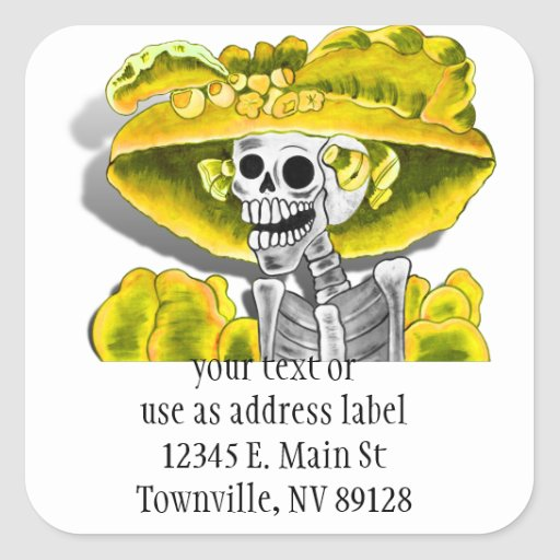 Laughing Skeleton Woman in Yellow Bonnet Square Sticker