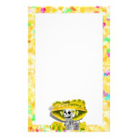 Laughing Skeleton Woman in Yellow Bonnet Stationery Design