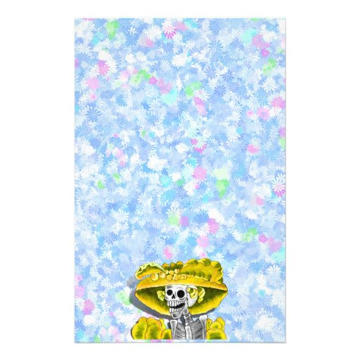 Laughing Skeleton Woman in Yellow Bonnet Stationery