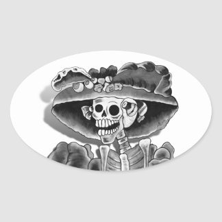Laughing Skeleton Woman Oval Sticker