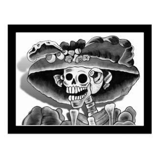 Laughing Skeleton Woman Postcard