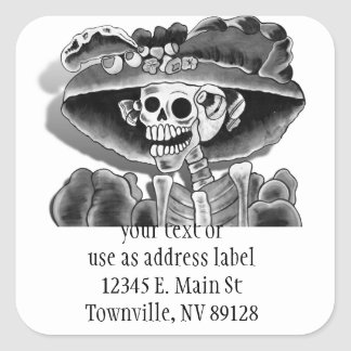 Laughing Skeleton Woman Square Sticker
