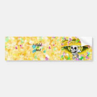 Laughing Skeleton Woman w/Yellow Bonnet on Yellow Car Bumper Sticker