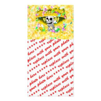Laughing Skeleton Woman w/Yellow Bonnet on Yellow Custom Photo Card