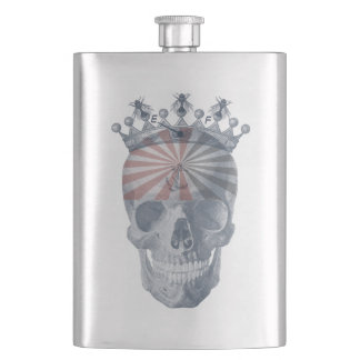Laughing Skull Crown Anchor Bees High Voltage Hip Flask