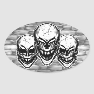 Laughing Skulls Oval Sticker