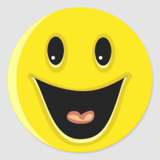 Laughing Smiley Face Classic Round Sticker