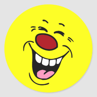 Laughing Smiley Face Grumpey Classic Round Sticker