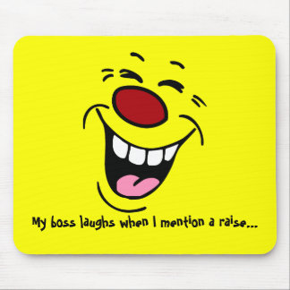 Laughing Smiley Face Grumpey Mouse Pad