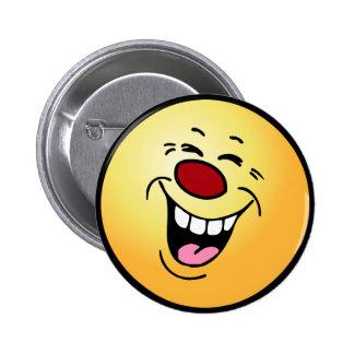 Laughing Smiley Face Grumpey Pinback Button