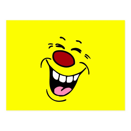 Laughing Smiley Face Grumpey Postcard