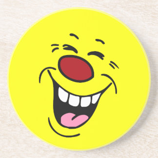 Laughing Smiley Face Grumpey Sandstone Coaster