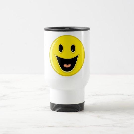 Laughing Smiley Face Travel Mug