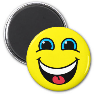 Laughing Smiley Face Yellow Magnet