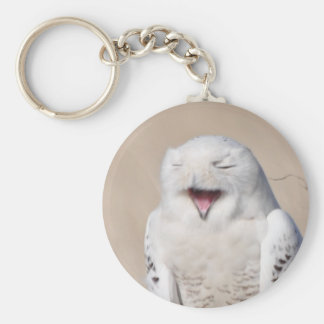 Laughing Snowy Owl Keychain
