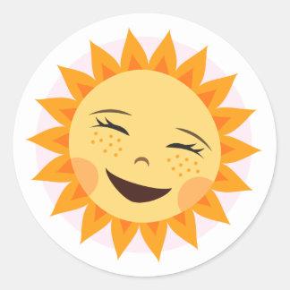Laughing sun cute cartoon stickers