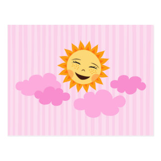 Laughing sun with clouds cute cartoon postcard