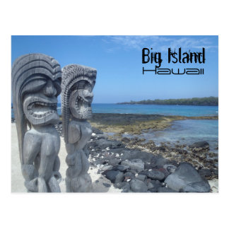 Laughing tikis Hawaii Big Island postcard