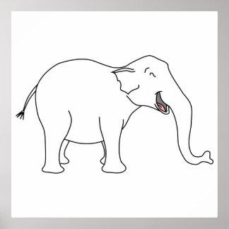 Laughing White Elephant. Print