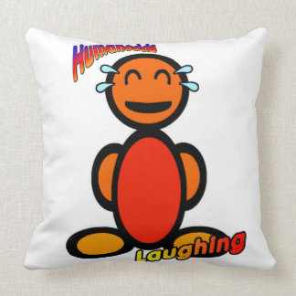 Laughing (with logos) throw pillow