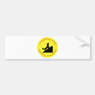 laughing wolf in moon bumper sticker