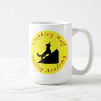 laughing wolf in moon coffee mug