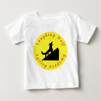 laughing wolf in moon tshirt