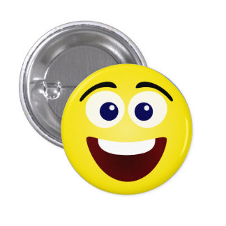 Laughing Yellow Smiley Face 1 Inch Round Button