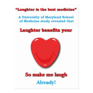 Laughter benefits your heart postcard